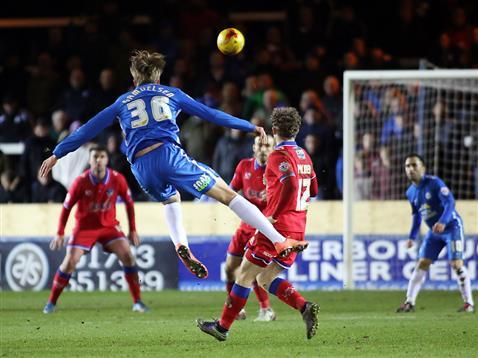 Martin Samuelsen lets fly from range v Oldham