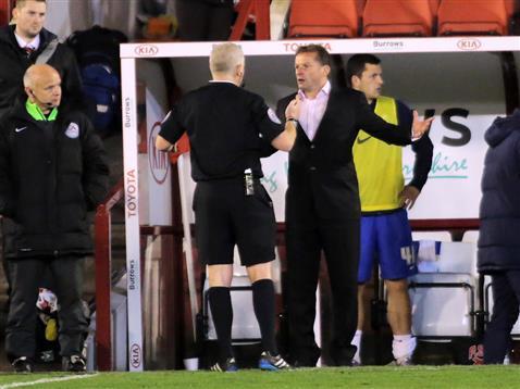 Referee Michael Bull sends off Posh manager Graham Westley v Barnsley