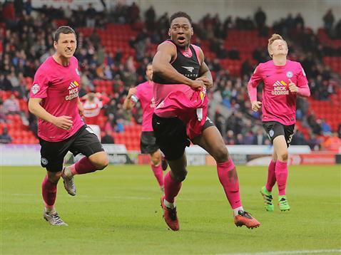 Ricardo Almeida Santos celebrates scoring a last minute winner v Doncaster 2