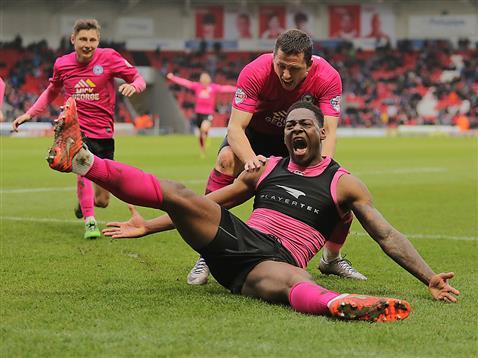 Ricardo Almeida Santos celebrates scoring a last minute winner v Doncaster 3