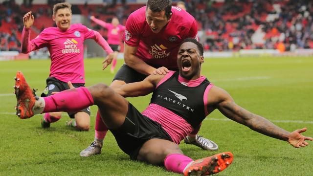 Ricardo Almeida Santos celebrates scoring a last minute winner v Doncaster