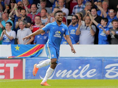 Shaq Coulthirst celebrates scoring v Blackpool