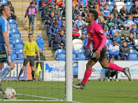 Shaq Coulthirst scores his first ever League goal for Posh v Colchester