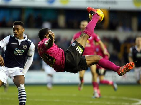 Souleymane Coulibaly tries and overhead kick v Millwall