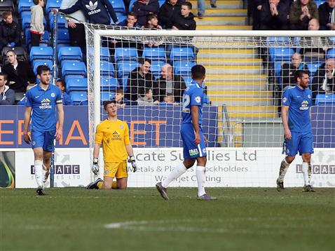 Stuart Moore concedes another goal v Port Vale