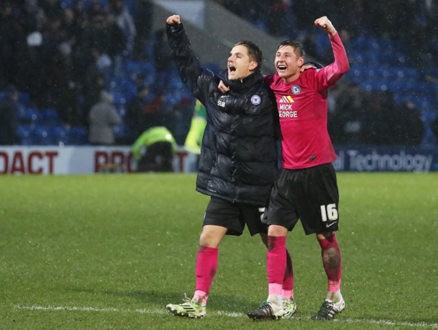 Tom Nichols and Harry Beautyman celebrate the win over Chesterfield