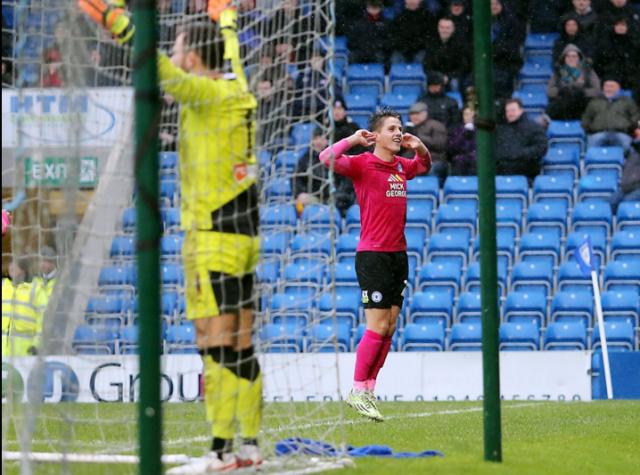 Tom Nichols celebrates his debut goal v Chesterfield