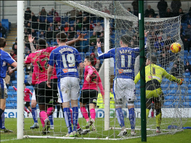Tom Nichols scores on his Posh debut v Chesterfield