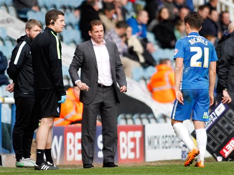 Tom Nichols trudges off with a season ending injury v Rochdale