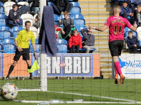 Top scorer Marcus Maddison celebrates his goal v Colchester
