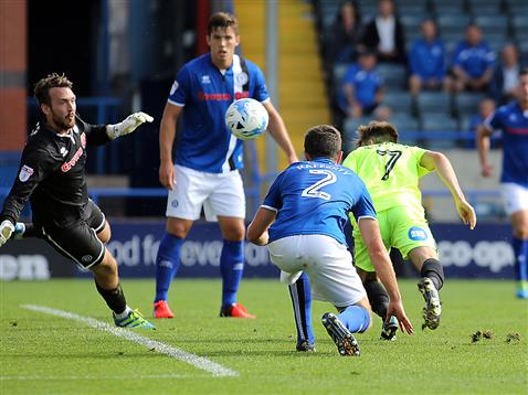 Gwion Edwards heads home the winner v Rochdale