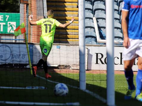 Marcus Maddison celebrates his goal v Rochdale