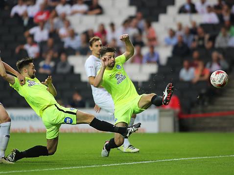 Andrew Hughes scores v MK Dons