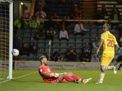 Ben Alnwick cant keep out Steve Morison for a consolation goal for Millwall