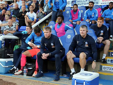 Grant McCann sat on the bench with Lee Glover and Mark Tyler v Millwall