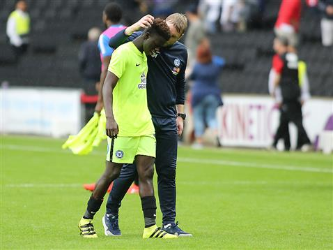 Grant McCann talks to Leo Da Silva Lopes after the win over MK Dons