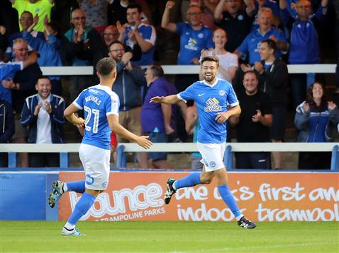 Gwion Edwards celebrates with Tom Nichols v Millwall
