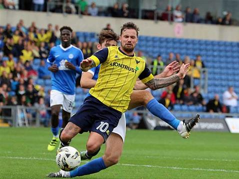 Jack Baldwin concedes a 93rd minute penalty v Oxford