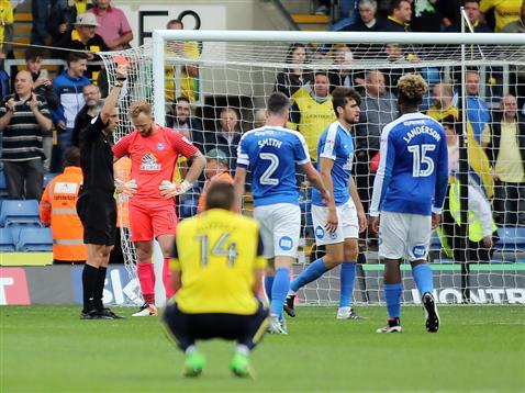 Referee Seb Stockbridge sends off Jack Baldwin v Oxford