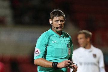 Referee Brett Huxtable from Devon