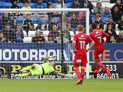Mark Tyler cant stop the penalty from Swindons Michael Doughty