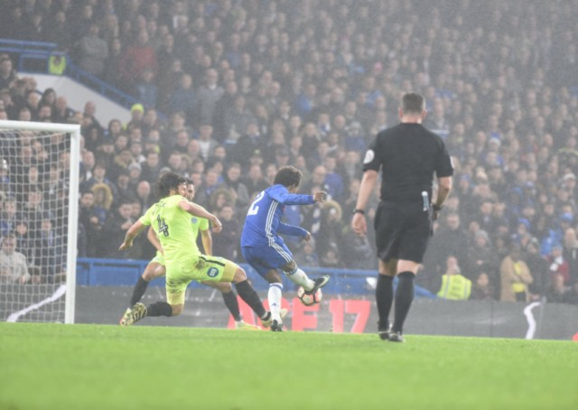 Willian scores Chelsea's third goal against Posh. Photo: David Lowndes.
