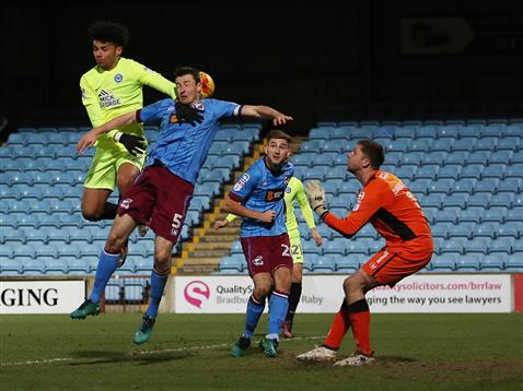 lee-angol-misses-a-cross-which-hits-defender-goode-behind-him-and-goes-in-v-scunthorpe