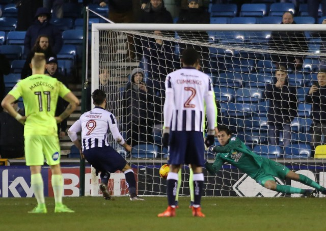 Millwall striker Lee Gregory slams the winning penalty past Posh goalkeeper Luke McGee. Photo: Joe Dent/theposh.com.